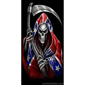 """Rebel Flag Beach Towel Grim Reaper with Scythe Confederate Southern Dixie Pride 30""""X60"""""""