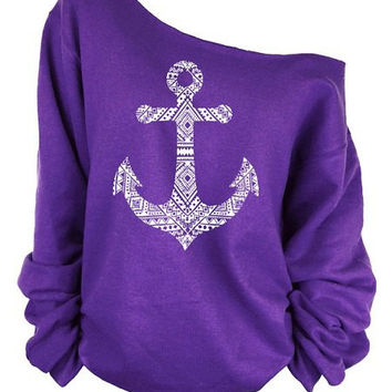One Shoulder Long Sleeve Anchor Print Sweatshirt