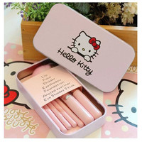 1 SET New Set of Pretty Cute Cartoon Pink Pro Cosmetic Makeup Tool Brush 7Pcs