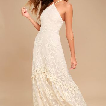 Aspyn Cream Crochet Lace Maxi Dress