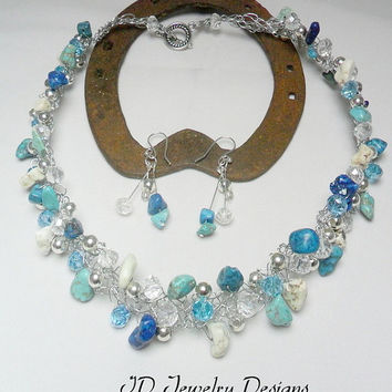 South Western Counrty Western Inspired Wire Turquoise Crochet Choker casual Necklace Matching Earring Set