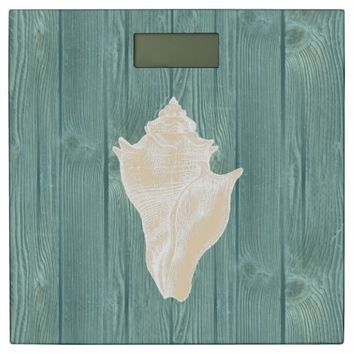 Sea Shell Cream Vintage Aqua Wood Scale Bathroom Scale