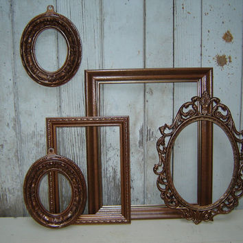 Painted Picture Frames Hammered Copper by WendysVintageShop