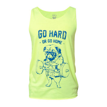 Go Hard Or Go Home Tank top, Pug Tank, Workout Clothing, Gym Tank Top