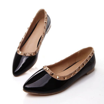 Women Flats Studded Ballet Shoes Woman Loafers 3540