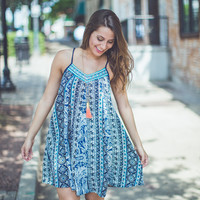 Aztec and Paisley Sundress in Navy