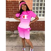 Champion Hot Sale Woman Casual Gradient Print Short Sleeve Top Shorts Set Two Piece Sportswear Pink