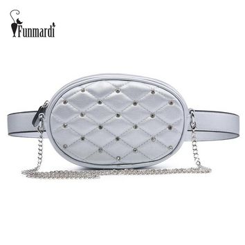 FUNMARDI Diamond Design Waist Packs Silver Quilted PU Leather Shoulder Bags Velvet Black Waist Bag Fashion Women Bag WLHB1741