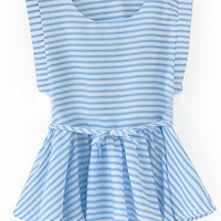 Blue Stripe Sleeveless Peplum Top
