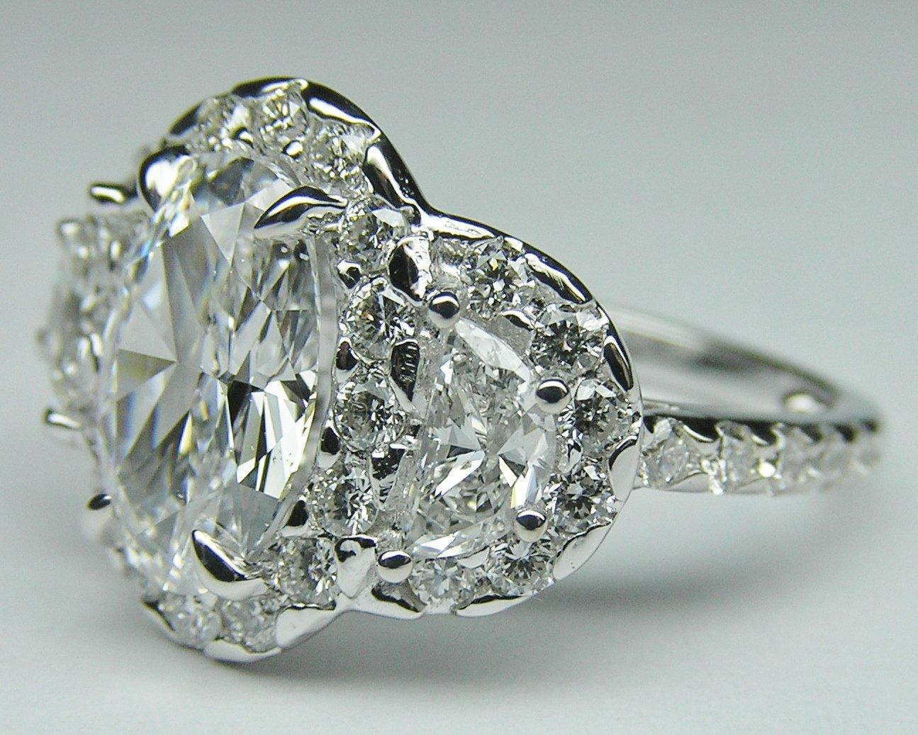 Square Halo Engagement Rings With Side Stones