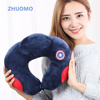 ZHUOMO 2018 New batman comfortable Avengers Cartoon Pattern U Shaped neck travel pillow automatic Neck Support Head Rest Cushion