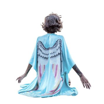 Angel Wings Women's Tunic Floral Print Chiffon Beach Cover Up
