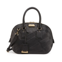Burberry: Check-Embossed Leather Satchel