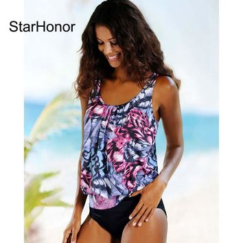 StarHonor Hot Woman Print Flowers Two-Pieces Bathing Suits Bikini Set Sexy Geometric Swimwear Strappy Push Up Swimsuit