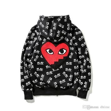 New Autumn Winter Men's Black Hoodies Brand Men's Clothing Fashion Vintage Heart Printed Cardigan Sweatshirts Teenager Hoodie Tops