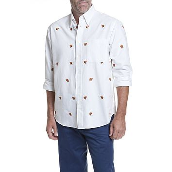 Straight Wharf Shirt in White Oxford with Embroidered Turkey by Castaway Clothing