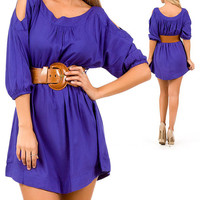 OPEN SHOULDER BELTED MINI DRESS