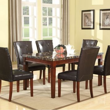 7 pc Doretta collection walnut finish wood and golden black marble top dining table set