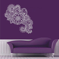 Wall Decal Vinyl Sticker Decals Art Decor Design Corner Leaves Pattern Damask Flower Branch Trees Dorm Bedroom House Fashion(r1058)
