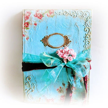 Wedding Guest Book Antique Guest Book Personalized Turquoise Guest Book Signature Book Unique Wedding Book Custom Guest Book Vow Book