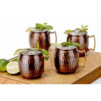 Hammered Antique Solid Copper Moscow Mule Mugs Set of 4 16 oz