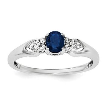 Sterling Silver Genuine Blue Sapphire And White Sapphire Ring