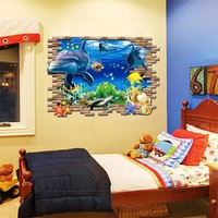 New Sea Whale Fish 3d Wall Stickers for Kids Room Removable Decoration DIY PVC sticker wallpaper decals Bathroom Decoration