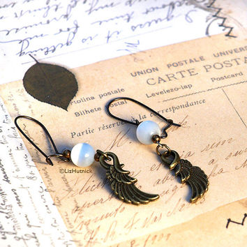 Angel Wings Earrings. Brass and Bead Dangle Earrings