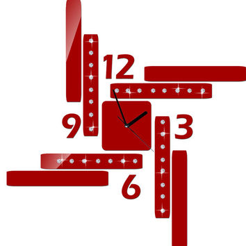 Modern wall clock red color large design for unique gift living room decor Shatterproof