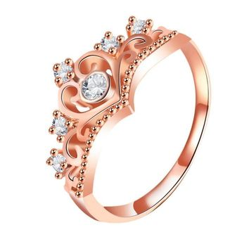 Cool New Arrival Crystal Heart Ring Rose Gold Color Crown Shaped Rings For Women Princess Queen Engagement JewelryAT_93_12