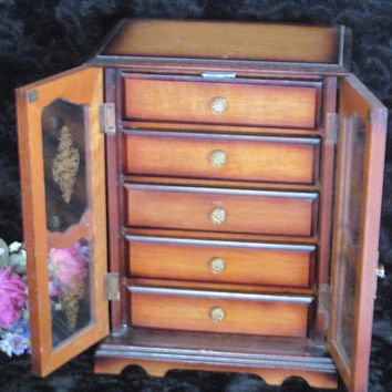 Vintage Musical Jewelry Box Five Drawer with Doors Plays Love Story