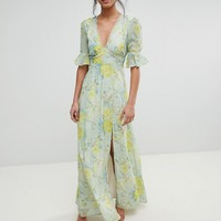 Hope & Ivy Floral Printed Maxi Dress With Thigh Split at asos.com
