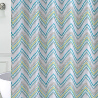 """Watercolor Chevron Printed Faux Silk Shower Curtain with Roller Hooks (70"""" x 72"""")"""