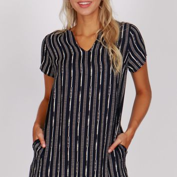 Print Shift Dress Dark Navy