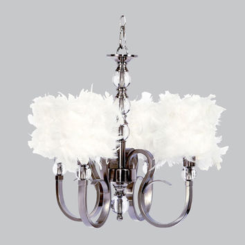 Jubilee Collection 75115-2477 Hampton Four-Light Chandelier with White Feather Drum Shades