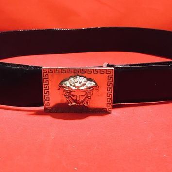 Black Leather Versace Belt with Signature Silver Medusa Head 34/85 Womens