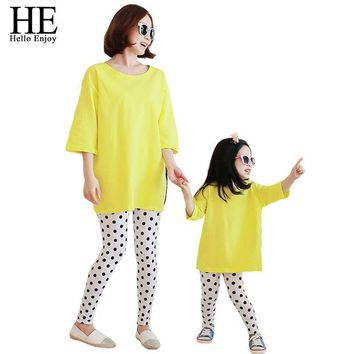 DCCKWQA HE Hello Enjoy Family Matching Outfits 2016 autumn casual mother and daughter clothes (Loose T-shirt + dot pants) clothing set