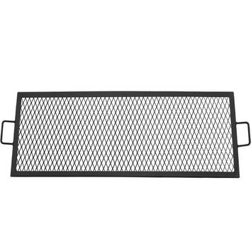 Sunnydaze Decor 40 Inch Metal Rectangle Fire Pit Cooking Grill