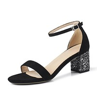 Ankle Strap Sequin Suede Chunky Heels Sandals Sparkly heels for Women 9522
