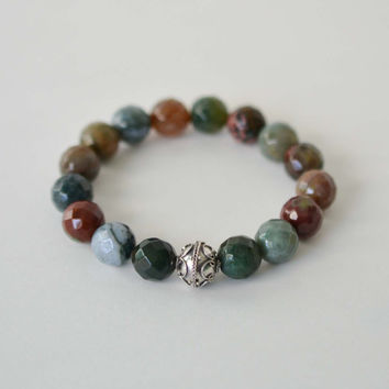Indian Agate Bracelet, Gemstone Bracelet, Sterling Silver Bracelet, Colorful Bead Bracelet, Boho Stacking Bracelet, Stone Jewelry, Gifts