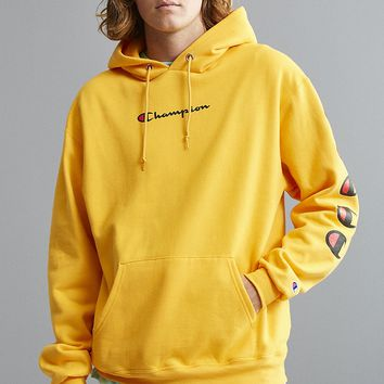 Champion autumn and winter tide brand couple embroidery letters loose hoodie yellow