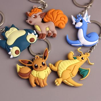 Pikachu Keychain Pocket Monsters Key Holder Pokemon Go Key Ring Pendant 3D Mini Charmander Squirtle Bulbasaur