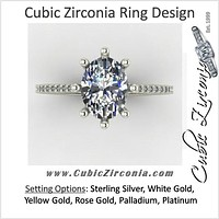 Cubic Zirconia Engagement Ring- 2.12 TCW 8-prong Oval Cut Single Row Pave CZ