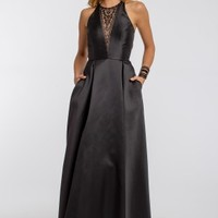Beaded Illusion Plunge Long Dress