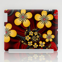 Yellow Fantasy Flowers On Red And Black iPad Case by Gabiw Art