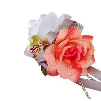 Wrist corsage-White rose and shades of peach coral rose with orchid accents.(artificial flower)