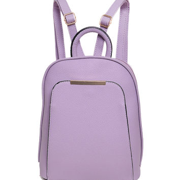 Purple Pocket Front Metal Bar Detail Backpack