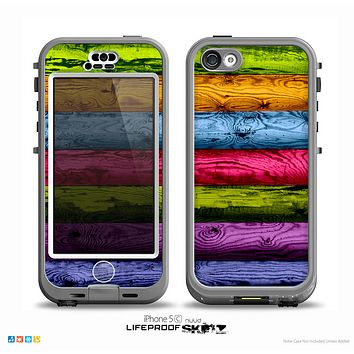 The Neon Heavy Grained Wood Skin for the iPhone 5c nüüd LifeProof Case
