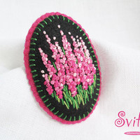 French Knot Flowers Brooch | Pink Textile Brooch | Felt Brooch | Felted Textile Fashion | Textile Art | Flowers Brooch