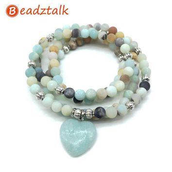 Beadztalk Natural Stone Beads Bracelets 74 cm Mala Yoga Necklace Frosted Amazonite Heart Charm 2018 Hot Sale High Quality Style